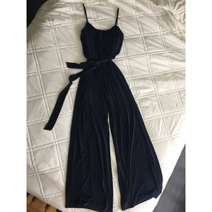 Boston Proper Navy Jumpsuit with tie at waist